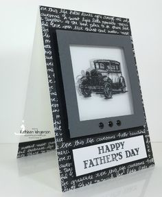 Stampin' Up! Guy Greetings Father's Day card featuring Shadow Box technique by Kathleen Wingerson. Supplies and additional details available online www.kathleenstamps.com