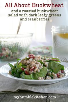 All About Buckwheat, A Roasted Buckwheat Salad with Dark Leafy Greens and Cranberries Recipe, and a Bob's Red Mill Giveaway! Vegetarian Lunch, Vegetarian Recipes, Healthy Recipes, Healthy Salads, Cereal Recipes, Whole Food Recipes, Buckwheat Salad, Clean Eating, Healthy Eating