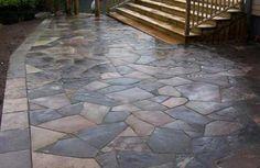 Flagstone Patio Dry Laid - All For Garden Patio Steps, Diy Patio, Backyard Patio, Backyard Landscaping, Backyard Ideas, Paving Stone Patio, Bluestone Patio, Flagstone, Concrete Patios