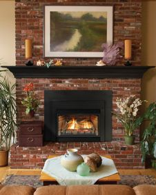 gas fireplace with brick surround - Google Search
