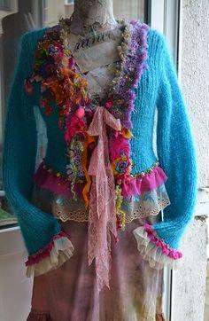 Bohemian cardigan wearable art mori girl fairy by irinacarmen