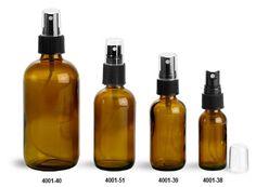 Glass Bottles, Amber Glass Boston Rounds w/ Black Ribbed Fine Mist Sprayers
