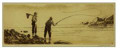 River Friends etching by Brett J Smith www.brettsmith.com Fishing Trips, Fishing Stuff, Fly Fishing, Country Cabin Decor, Rustic Decor, Art Ideas, Decor Ideas, Hunting Art, Gifts For Hunters