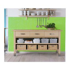 VÄRDE Base cabinet  - IKEA. Could be a good baking area and way to extend the kitchen. love the shelf above too and ways to hang utensils.