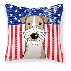 Carolines Treasures American Flag and Wire Haired Fox Terrier Square Decorative Outdoor Pillow - BB2177PW1414