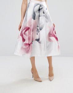 f5a29ae72d Ted Baker Jolana Full Midi Skirt in Porcelaine Rose Print