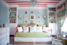 this is a great way to make a teen's room (especially if it is small) interesting AND practical.. I love this.