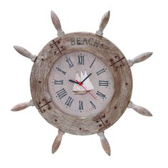 "Benzara Wood Ship Wheel Clock 20""D Nautical Maritime Decor"
