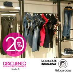 Visita nuestra tienda Studio F Sambil Caracas, y disfruta del 20% de descuento en jeans seleccionados. Te esperamos