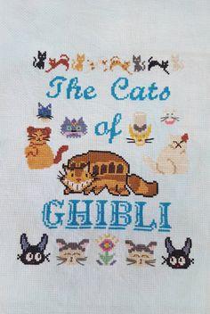 The Cats of GHIBLI Studio Ghibli Sampler Cross por ArmadaDesigns