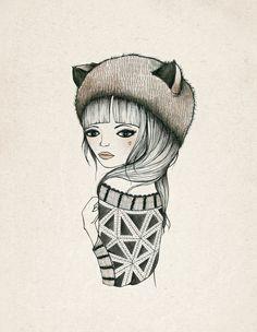 Fox Girl |Art Print by Kelli Murray| Society 6