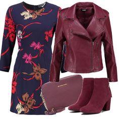 Il bordeaux è il colore dell'autunno '16, col giubbotto biker, gli stivaletti in suede e la mini tracolla, indossiamo un delizioso vestito blu a trapezio con stampa grandi fiori.