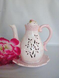 Vintage Tea Pot Candle Holder Pink and White Tea Pot by oldandnew8, $12.99
