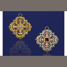 A Renaissance Revival garnet, diamond and enamel pendant, 3rd quarter, 19th century