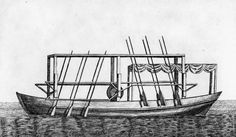 John Fitch built the first steamboat in the United States in 1787. He engaged the clockmaker and inventor Henry Voigt, to help him build a working model and place it on a boat. Fitch and Voigt worked to develop better designs, and in June 1790 launched a 60-foot (18 m) boat powered by a steam engine driving several stern mounted oars. (http://en.wikipedia.org/wiki/John_Fitch_(inventor))