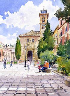 Margaret Merry WATERCOLORSanta Ana Church Granada
