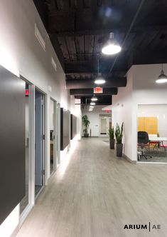 Corridor in an office space, with black laminate accent wall with light coves, exposed ceiling painted black, vinyl wood-look laminate floors