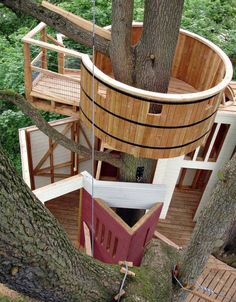 All images from Tree Houses: Fairy Tale Castles in the Air. This one is the Langeais Castle Tree House. Build on the grounds of a medieval castle in France, this tree house has six stairways leading to six levels, the highest of which is 10 metres about ground level. Climbing high is not cheap – it cost approximately $104, 000 to build. (Tree Houses: Fairy Tale Castles in the Air)