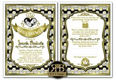 Custom Baby Shower Invitation designed by @RmbArtandDesign  #gold #stripes #fitforaking #babyshower #invitations #goldcrown