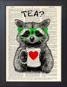 Raccoon tea time DICTIONARY Print art poster mug of tea Book pages Dorm decor Gift poster Wall decor CODE/172 (10.00 USD) by Natalprint