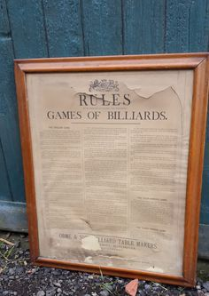 antique framed billiards rules by Orme | Browns Antiques Billiards and Interiors.