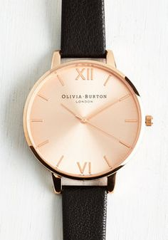 Undisputed Class Watch in Black & Rose Gold - Big. Become known as the arbiter of good taste by making this Big Dial watch from Olivia Burton your everyday accessory! #black #modcloth