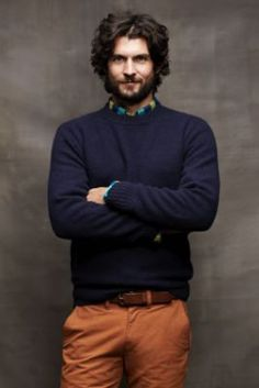 WHO WOULDN'T want this guy MODELING for THEM!!  Men's Lambswool Brushed Donegal Crewneck from Lands' End