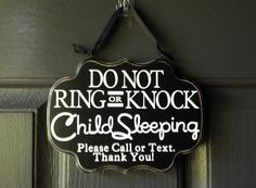Child Sleeping Sign, Do Not Ring or Knock Please Call or Text, Modern Baby sign, child sleeping front door sign on Etsy, $17.00