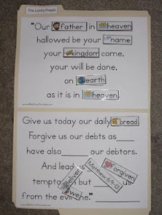 """Bible Games ideas~""""Hattie's Bible Crafts""""~~The Lord's Prayer File Folder Game and many other lesson ideas Preschool Bible, Bible Activities, Church Activities, Bible Games, Group Activities, Bible Study For Kids, Bible Lessons For Kids, Kids Bible, Sunday School Lessons"""