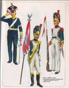 Duchy of Warsaw; L to R Driver, Military train; Porte Aigle Infantry Regt, Grenadier Co.
