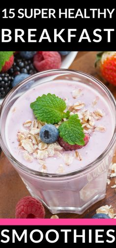 Looking for healthy smoothies for breakfast? You'll love this collection of 15 healthy & easy smoothies for breakfast! Whether you're looking for weight loss smoothies for breakfast, or smoothies for kids this list has you covered with the best protein an Energy Smoothie Recipes, Smoothie Recipes For Kids, Breakfast Smoothie Recipes, Eat Breakfast, Breakfast Healthy, Breakfast Ideas, Healthy Snacks, Eat Healthy, Free Breakfast
