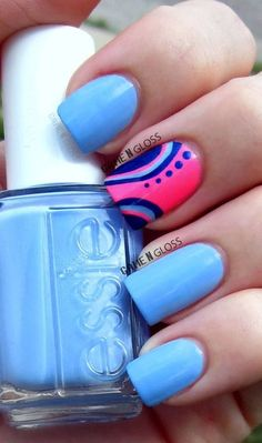 Bright blue with accents