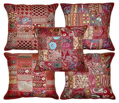 5pc  Indian Bohemian Pillow Patchwork Pillow Indian Cushion Cover  Decorative Throw Pillow Toss Pillow Vintage Pillow  Outdoor Sofa Pillow