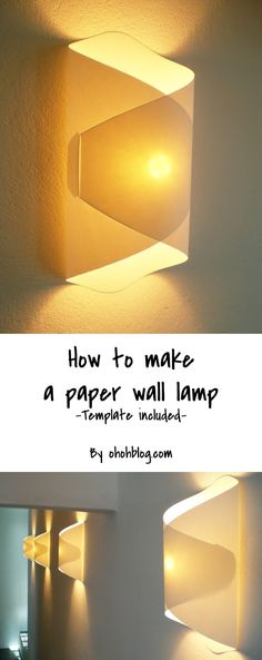 DIY paper lamp / Lampara de papel - Ohoh deco - Learn how to make a paper wall lamp, so easy to make with the free template - Interior Design Ikea, Diy Luz, Mur Diy, Paper Lampshade, Lampshade Decor, Origami Lampshade, Lampshades, Wall Lamp Shades, Diy Lampe