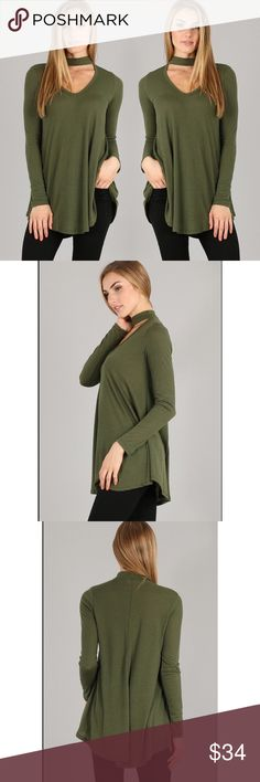 Olive Choker Neck Top New with tags.  V NECK CHOKER TOP  35% RAYON 65% POLY  MADE IN USA Ships out in 5 business days.  Instagram: @lanier_boutique Facebook: Lanier Boutique Tops