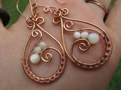 Mother of Pearl Copper Wire Wrap Earrings by TheGemstoneGoddess