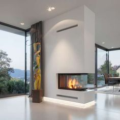 Kröger Daniels Architekten - Haus in Bonn Muffendorf Pellet Fireplace, Home Fireplace, Modern Fireplace, Fireplaces, Luxury Apartments, Luxury Homes, Built In Braai, Living Room Decor Fireplace, Modern Architecture