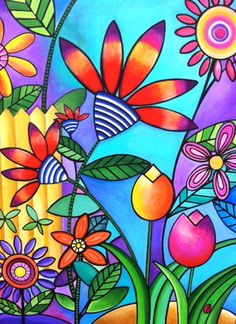 small pop art flowers - Google Search