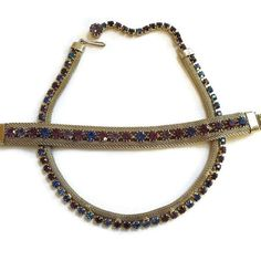 Vintage WEISS Purple & Blue Rhinestones Mesh Choker Necklace and Bracelet Demi Parure Set by MyVintageJewels