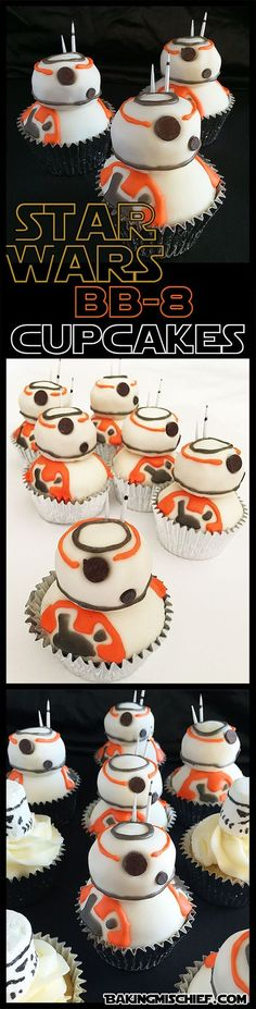 These are the droids you're looking for! Adorable and easy(ish) Star Wars BB-8 cupcakes that anyone can make.: