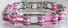 Ladies Silver & Pink Bike Chain Bracelet,titanium bike chain bracelet