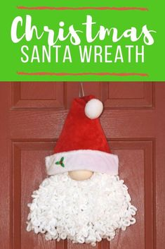 Get in the holiday spirit with this gnome-inspired DIY Loopy Yarn Christmas Santa Wreath this season. It's so cute and perfect for the front door! Santa Wreath, Christmas Mesh Wreaths, Christmas Gnome, Diy Wreath, Christmas Decorations, Christmas Ornaments, Winter Wreaths, Tulle Wreath, Spring Wreaths
