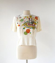 1940s Novelty Print Blouse / Circus Print Top by SmallEarthVintage