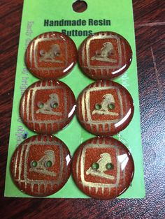 Handmade Resin Buttons - Set of 6 - Yellow/Orange/Red