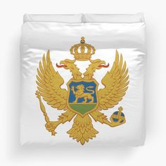'Coat of arms of Montenegro' Duvet Cover by ArgosDesigns Duvet Cover Sizes, Duvet Covers, Montenegro Flag, Scarf Shirt, Framed Prints, Canvas Prints, Long Hoodie, Coat Of Arms, Wall Tapestry