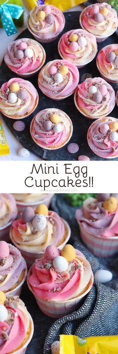 Vanilla Cupcakes, Hidden Mini Eggs, Vanilla Pastel Frosting, and even more Mini Eggs! Perfect Mini E Mini Egg Recipes, Cupcake Recipes, Easter Recipes, Dessert Recipes, Egg Cupcakes, Baking Cupcakes, Cupcake Cakes, Vanilla Cupcakes, Cup Cakes
