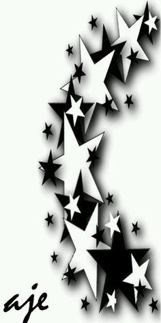 Black and white stars - Serkan Gargar - Skull Rose Tattoos, Body Art Tattoos, Sleeve Tattoos, Daddy Tattoos, Dope Tattoos, Star Tattoo Designs, Star Designs, Star Tattoos For Men, Tattoos For Guys