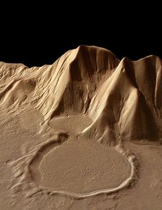 Mars is very dynamic. The shape and flow of this deposit near a Martian mountain almost 4 km. tall suggests ice-rich glacial movement. The image, taken on the eastern rim of the Hellas Basin, was made by the Mars Express High-Resolution Stereo Camera. Photo: European Space Agency