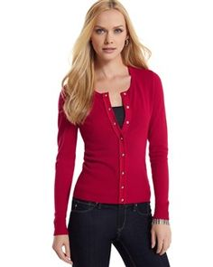 RUBY CARDIGAN Faceted buttons, pleated chiffon and grosgrain ribbon    Awesome new style from WHBM
