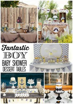 Neat & unique baby shower sweets / dessert table ideas for a baby boy Baby Shower Sweets, Baby Shower Table, Unique Baby Shower, Shower Party, Baby Shower Cakes, Baby Shower Parties, Baby Shower Themes, Shower Ideas, Baby Party
